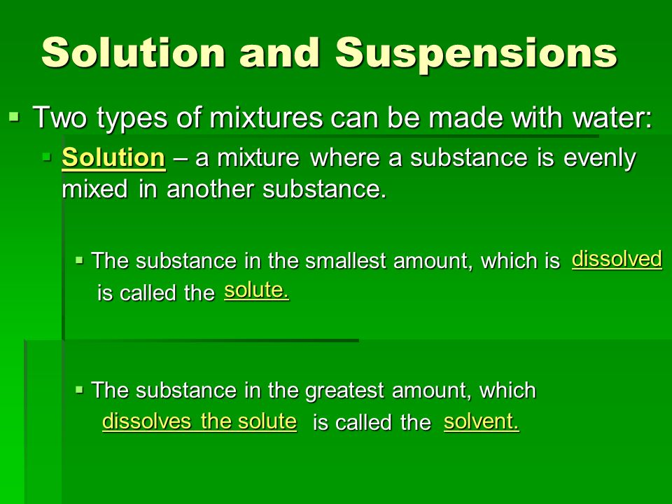 Solution and Suspensions