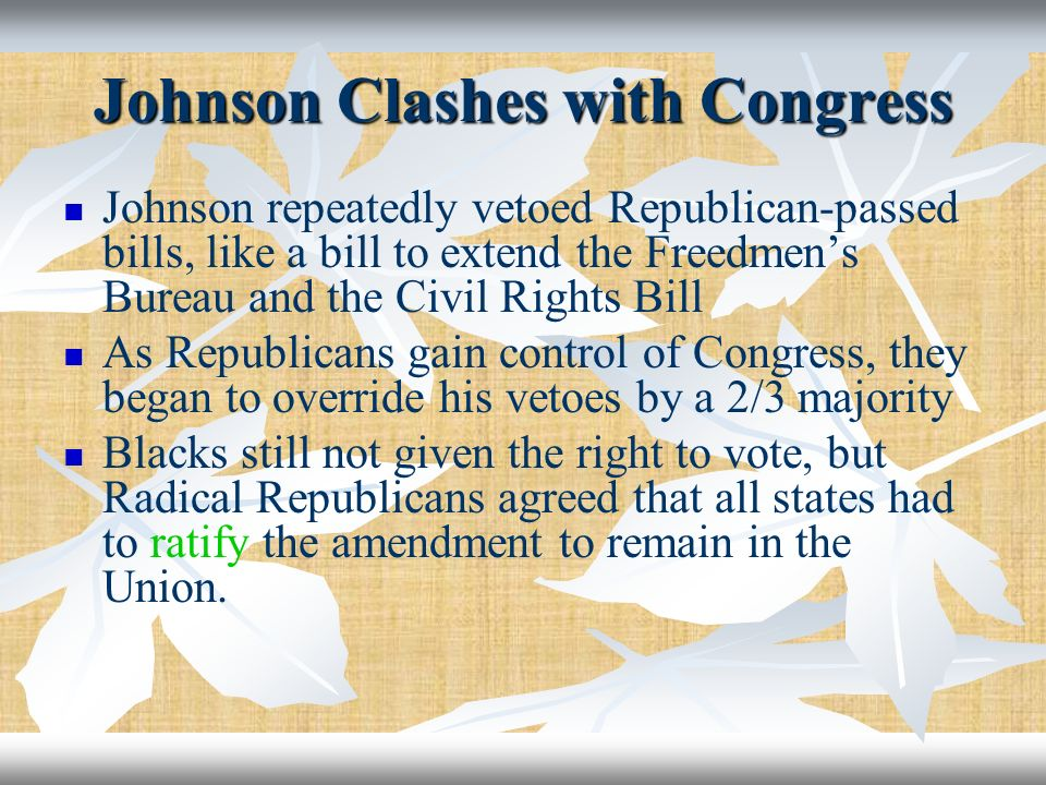 Johnson Clashes with Congress