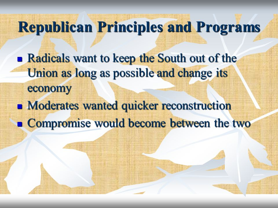 Republican Principles and Programs