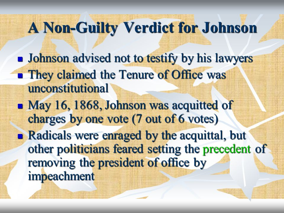 A Non-Guilty Verdict for Johnson