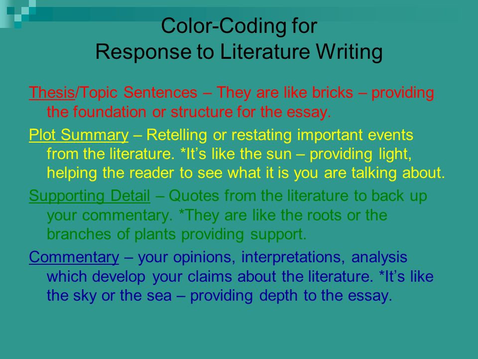 Color-Coding for Response to Literature Writing