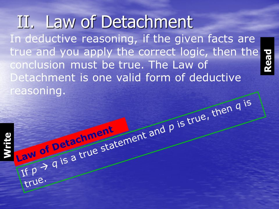 II. Law of Detachment