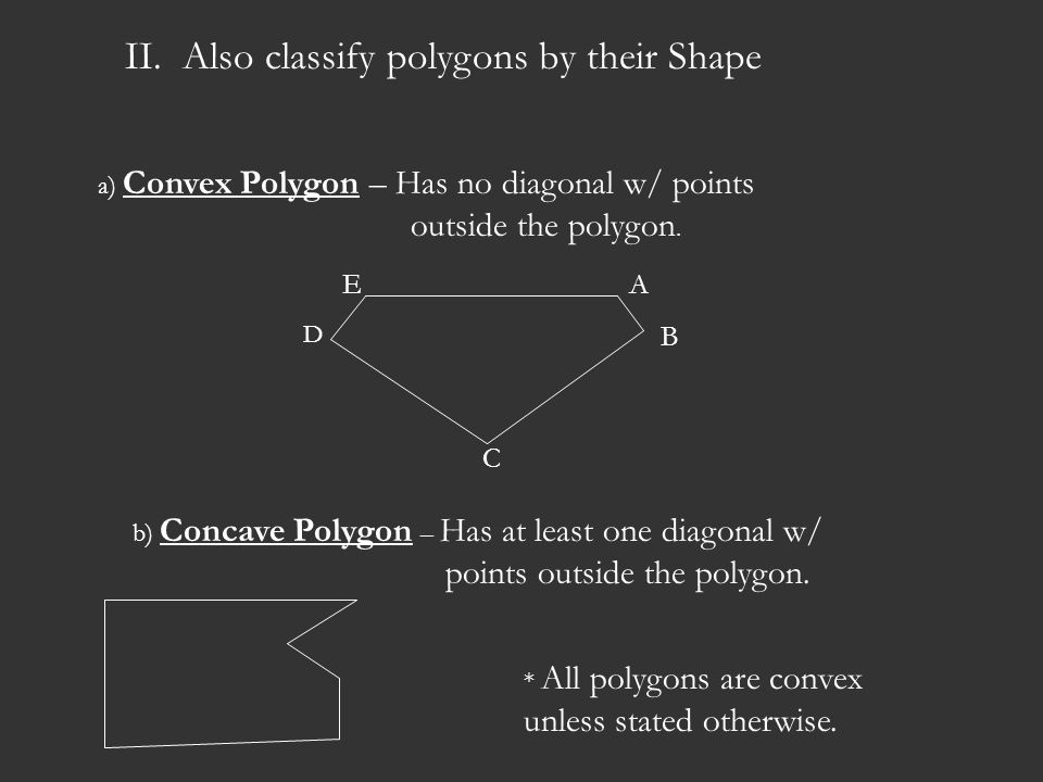 II. Also classify polygons by their Shape
