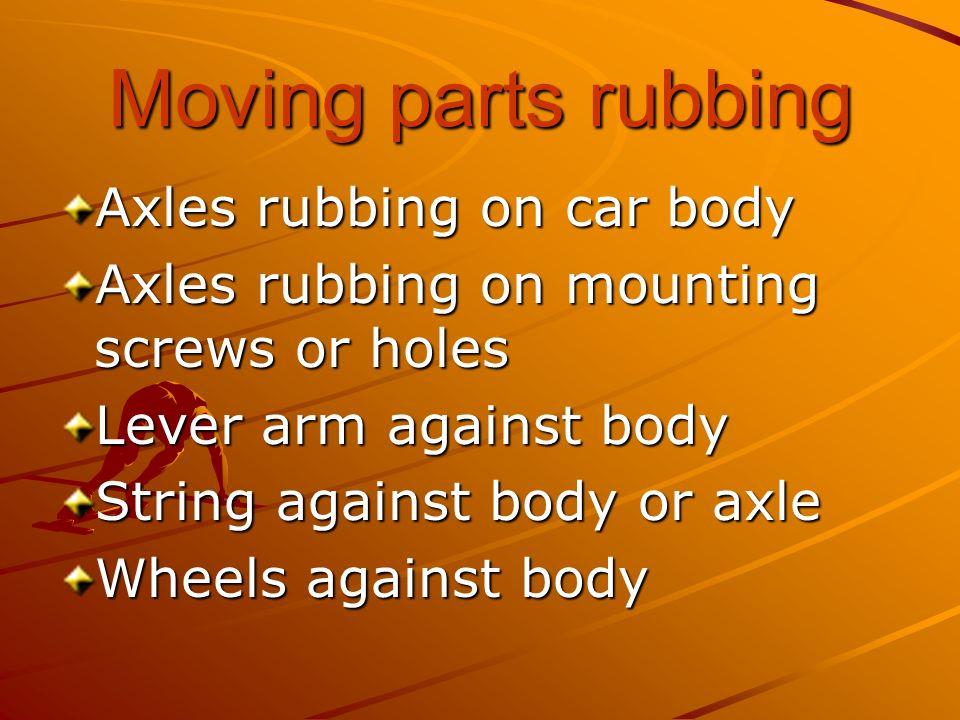 Moving parts rubbing Axles rubbing on car body