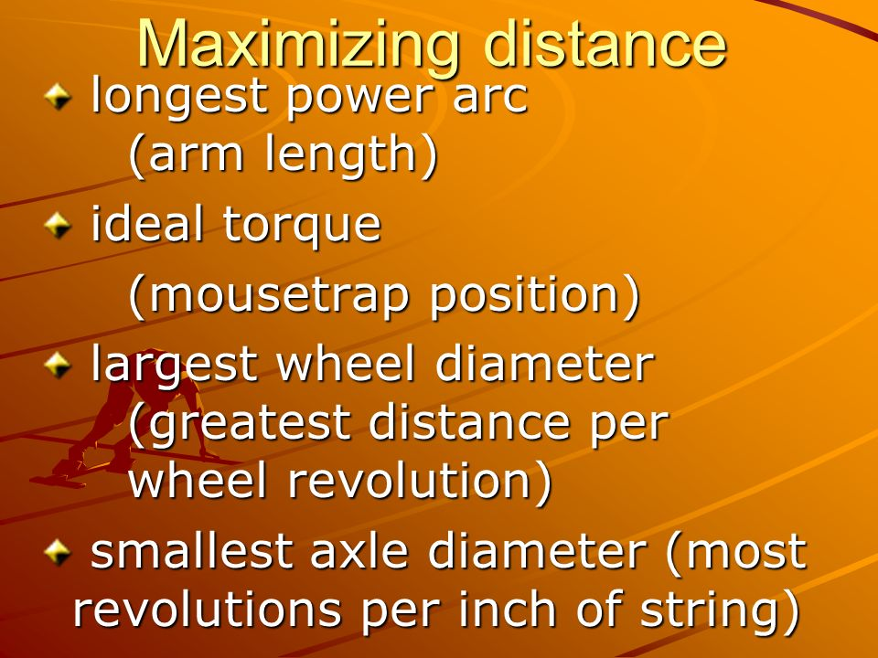 Maximizing distance longest power arc (arm length) ideal torque