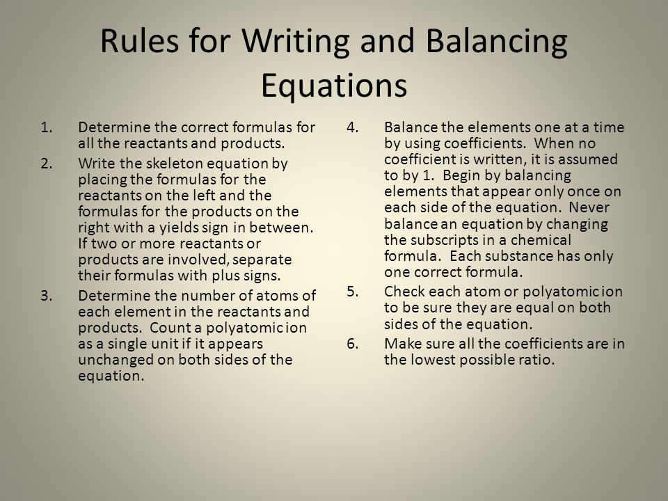 Rules for Writing and Balancing Equations