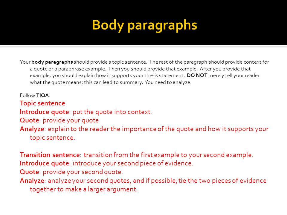 Body paragraphs Topic sentence