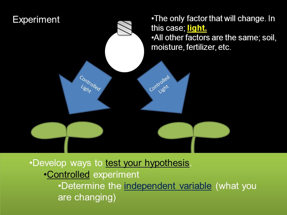Develop ways to test your hypothesis. Controlled experiment