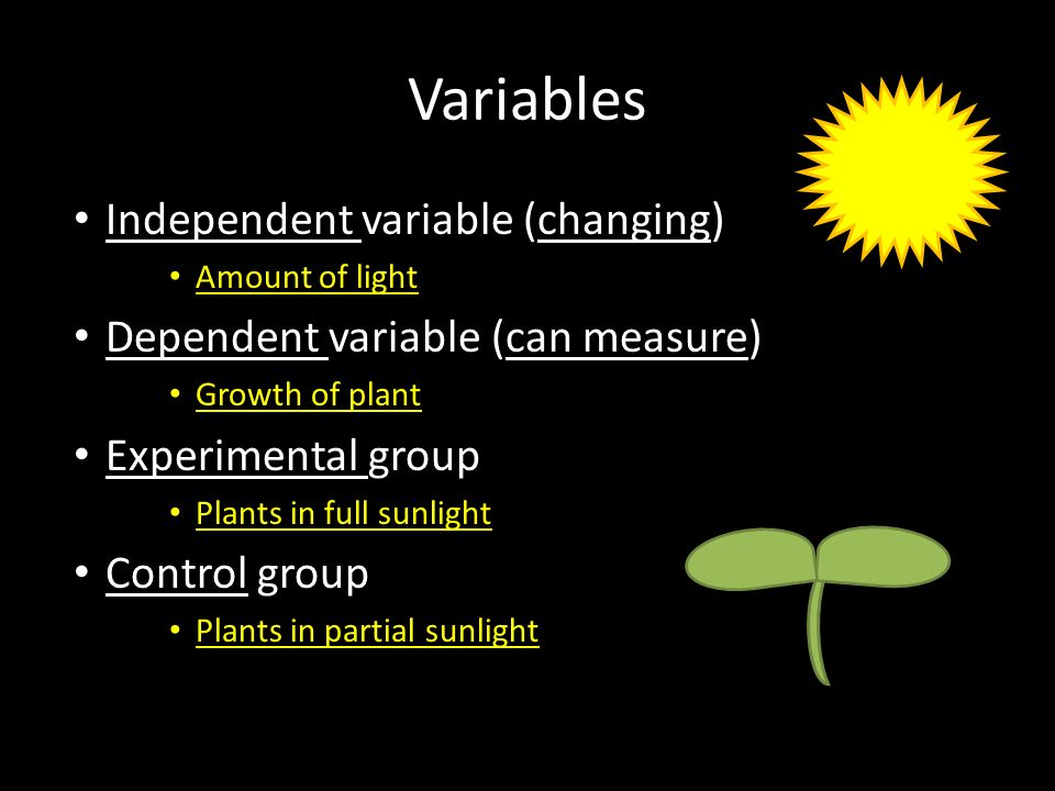 Variables Independent variable (changing)