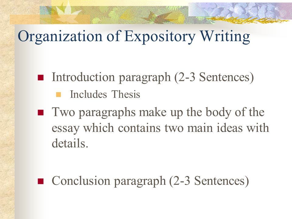 Organization of Expository Writing