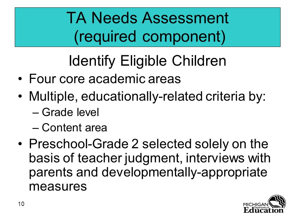 TA Needs Assessment (required component)