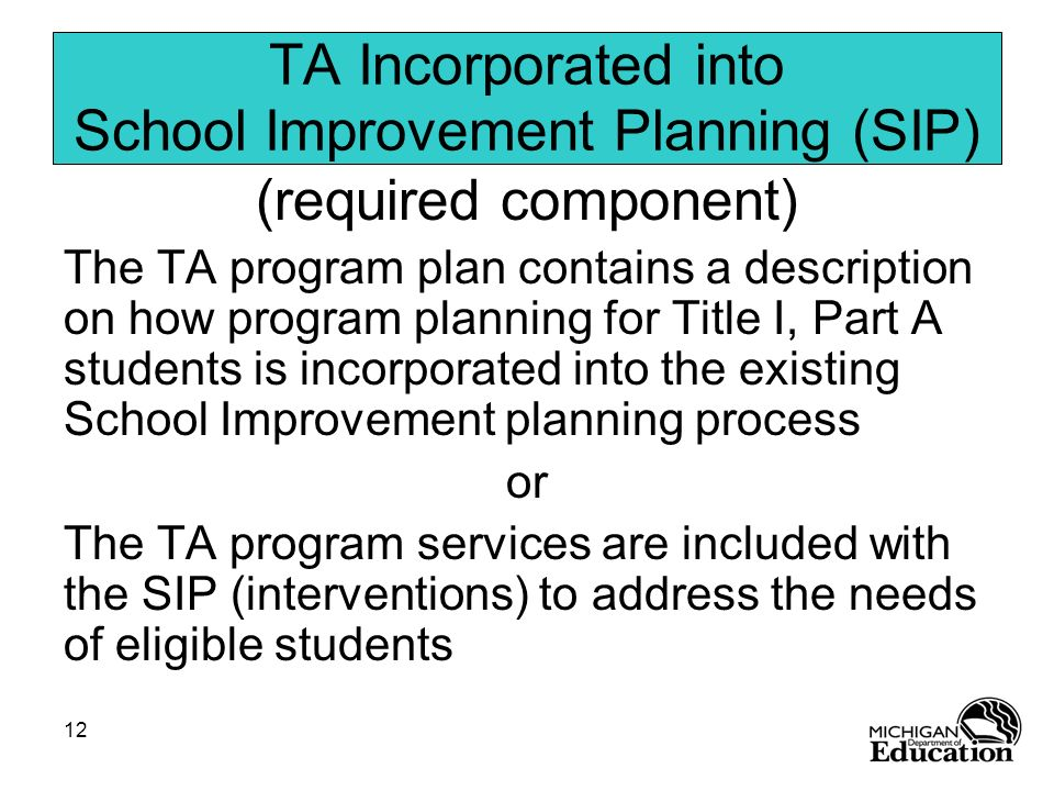 TA Incorporated into School Improvement Planning (SIP)