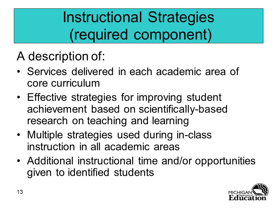 Instructional Strategies (required component)