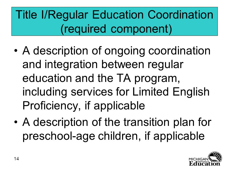 Title I/Regular Education Coordination (required component)