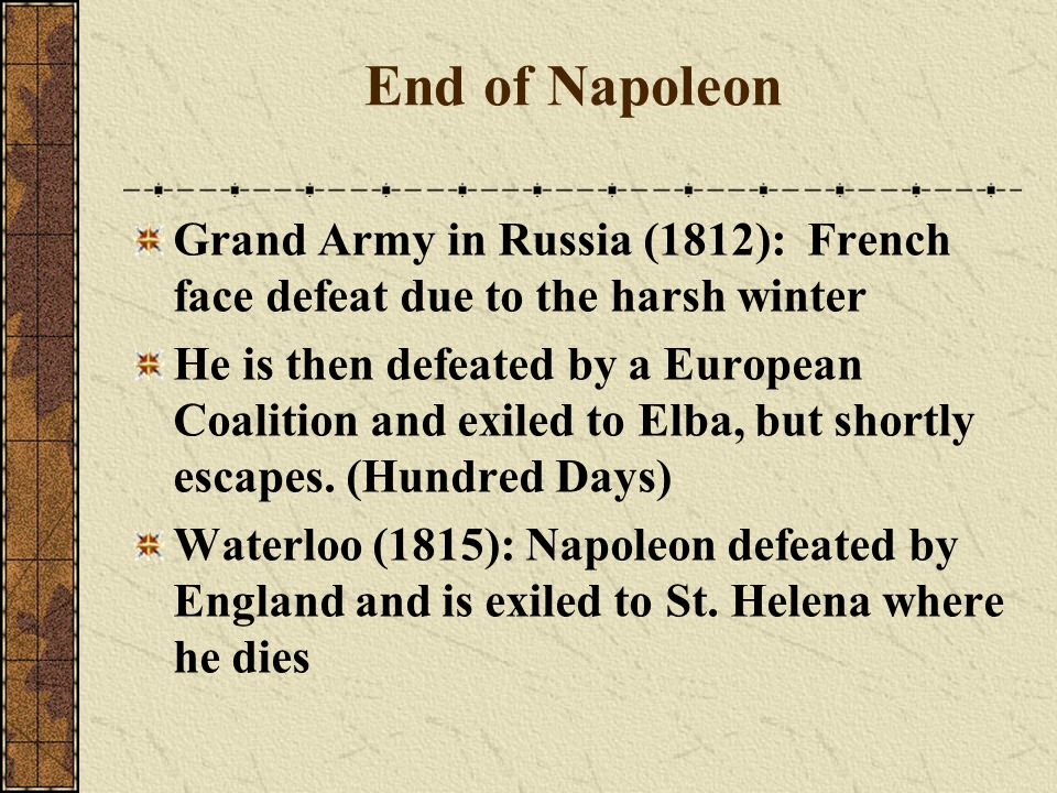 End of Napoleon Grand Army in Russia (1812): French face defeat due to the harsh winter.