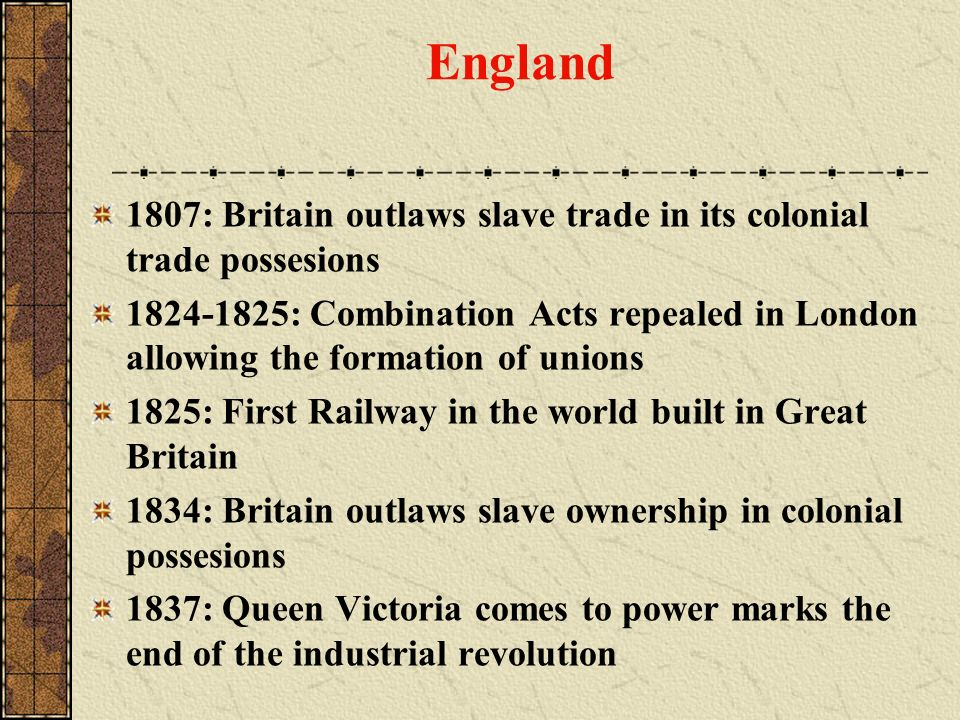 England 1807: Britain outlaws slave trade in its colonial trade possesions.