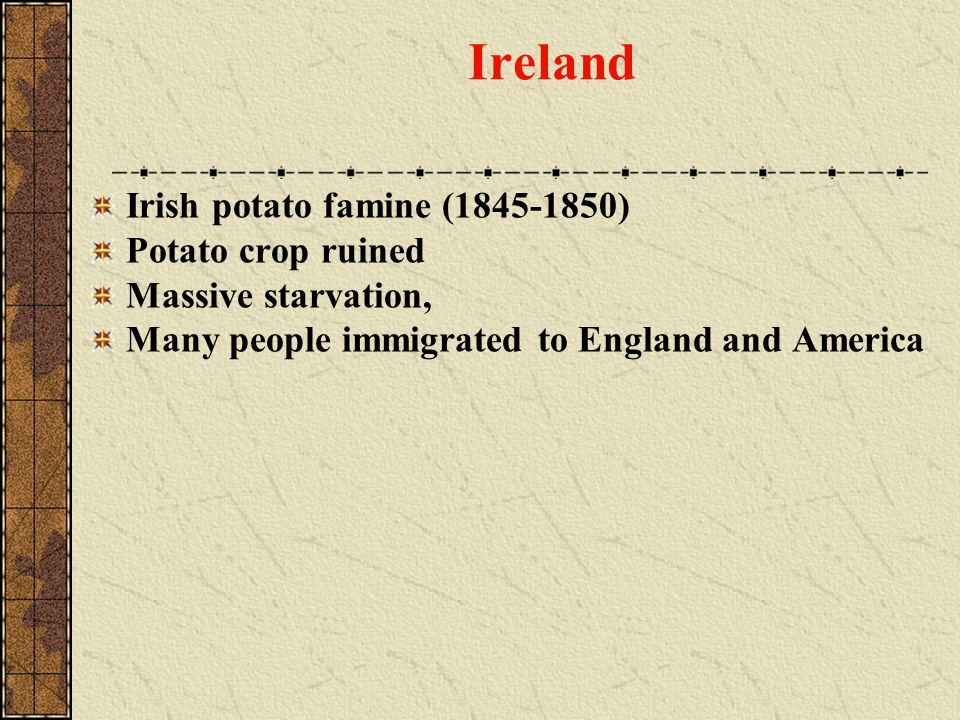 Ireland Irish potato famine (1845-1850) Potato crop ruined