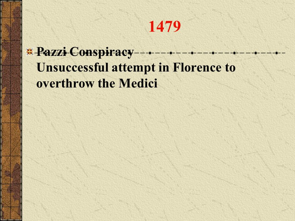 1479 Pazzi Conspiracy Unsuccessful attempt in Florence to overthrow the Medici