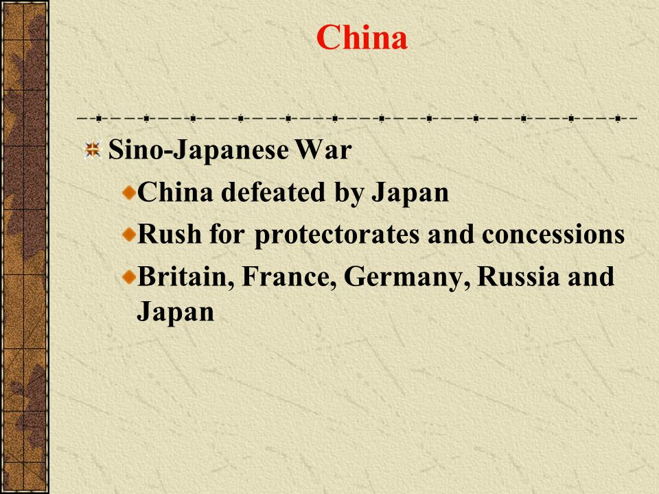 China Sino-Japanese War China defeated by Japan