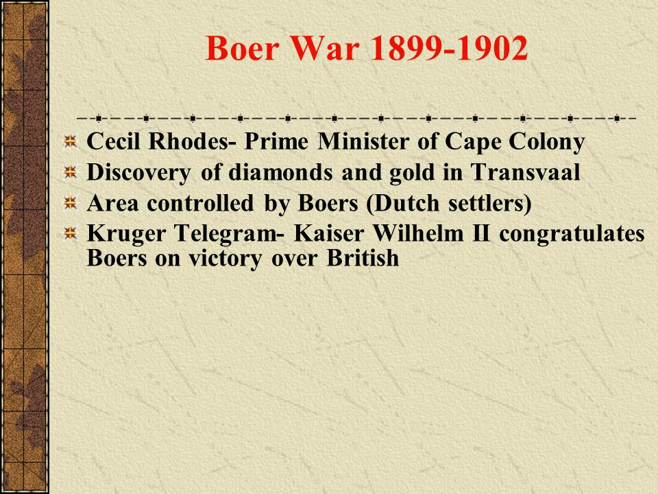 Boer War 1899-1902 Cecil Rhodes- Prime Minister of Cape Colony