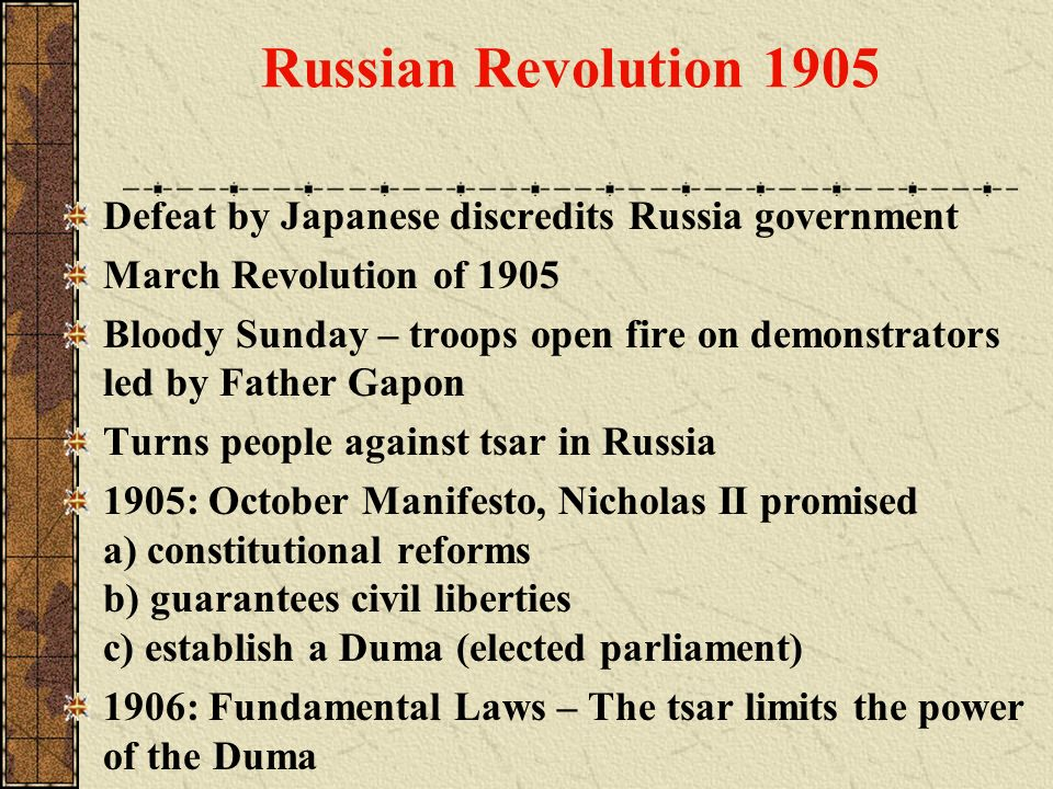 Russian Revolution 1905 Defeat by Japanese discredits Russia government. March Revolution of 1905.