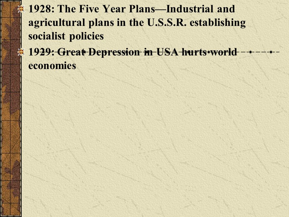 1928: The Five Year Plans—Industrial and agricultural plans in the U.S.S.R. establishing socialist policies
