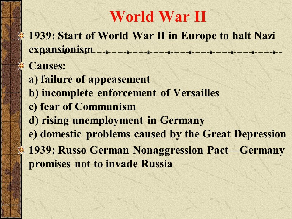 World War II 1939: Start of World War II in Europe to halt Nazi expansionism.