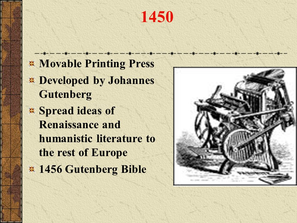 1450 Movable Printing Press Developed by Johannes Gutenberg