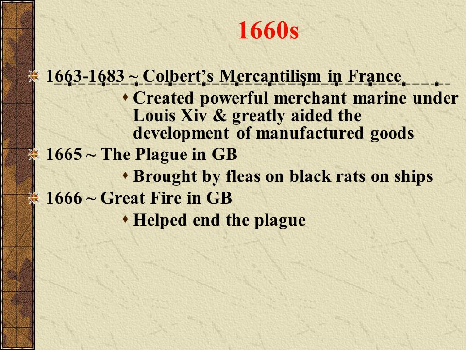 1660s 1663-1683 ~ Colbert's Mercantilism in France