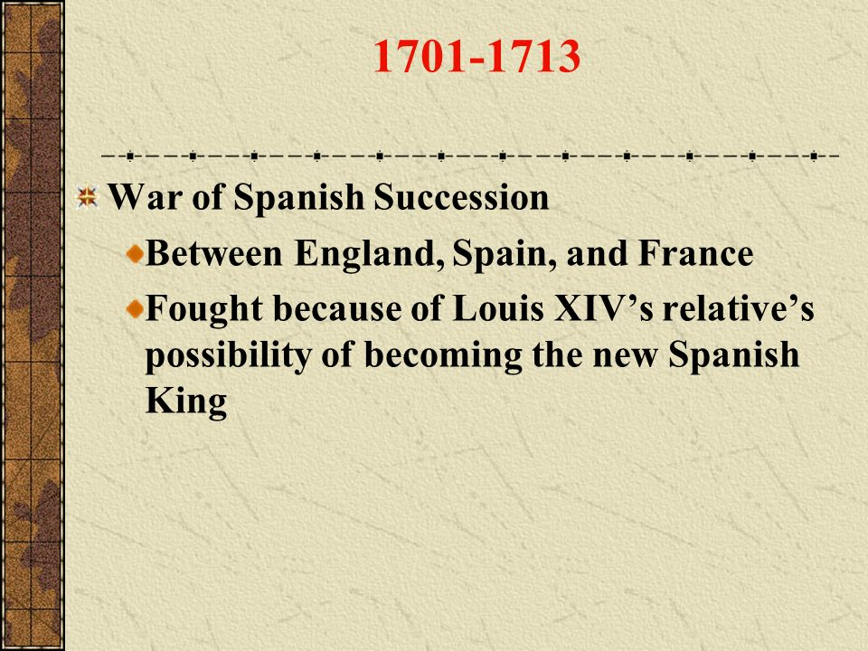 1701-1713 War of Spanish Succession Between England, Spain, and France