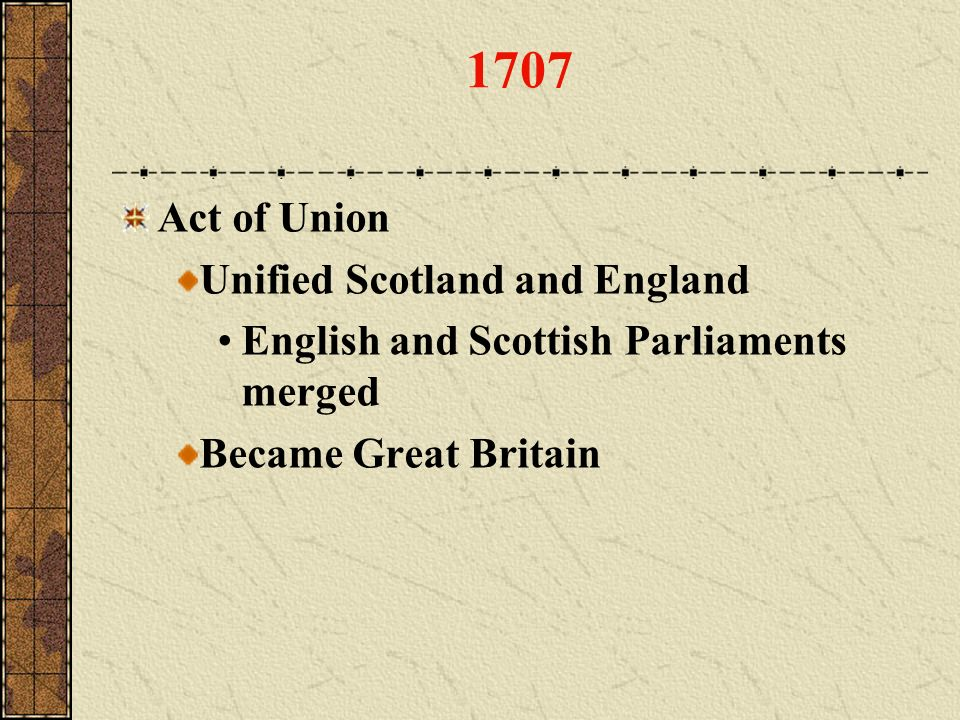 1707 Act of Union Unified Scotland and England