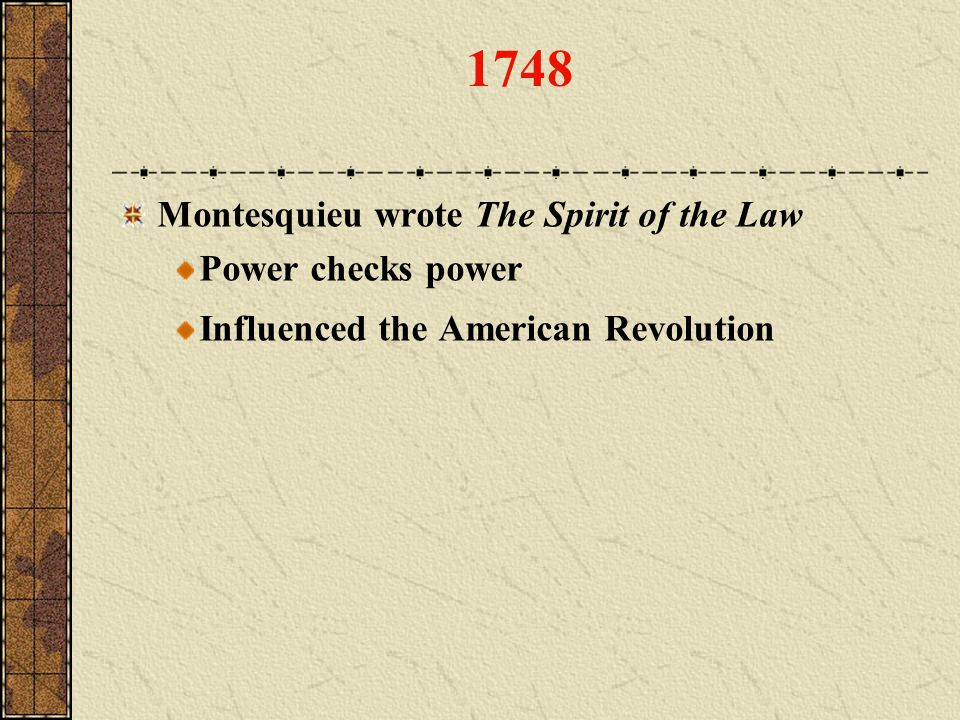 1748 Montesquieu wrote The Spirit of the Law Power checks power