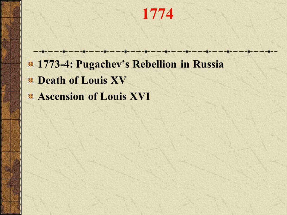1774 1773-4: Pugachev's Rebellion in Russia Death of Louis XV