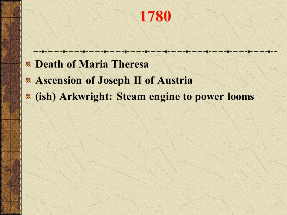 1780 Death of Maria Theresa Ascension of Joseph II of Austria
