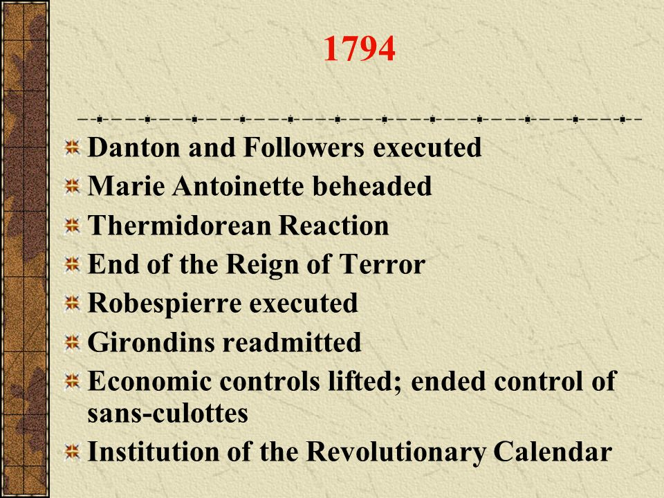 1794 Danton and Followers executed Marie Antoinette beheaded