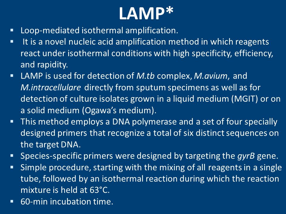 LAMP* Loop-mediated isothermal amplification.