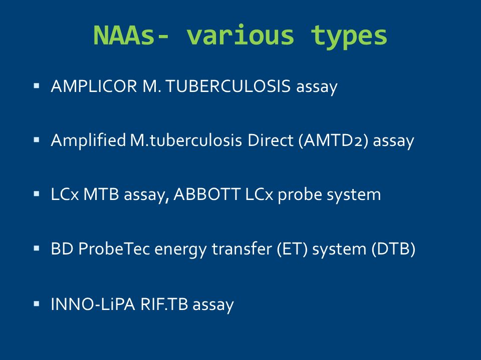 NAAs- various types AMPLICOR M. TUBERCULOSIS assay