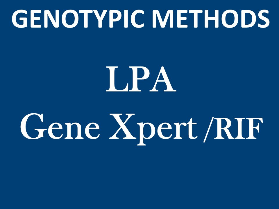 GENOTYPIC METHODS LPA Gene Xpert /RIF