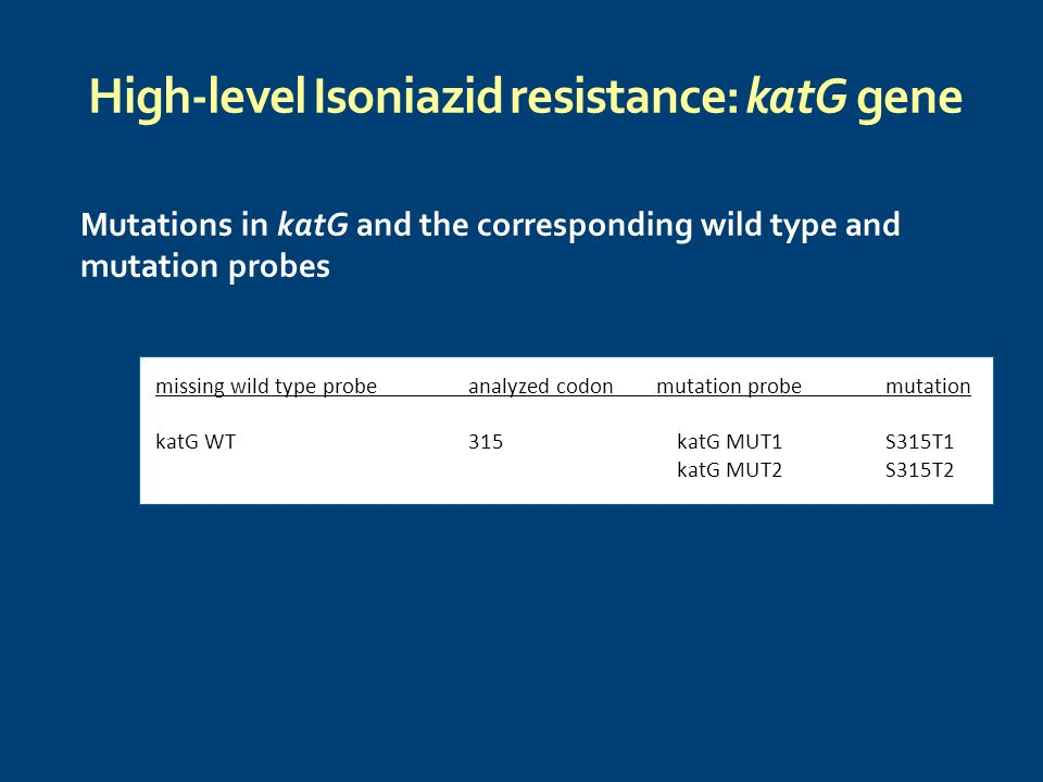 High-level Isoniazid resistance: katG gene