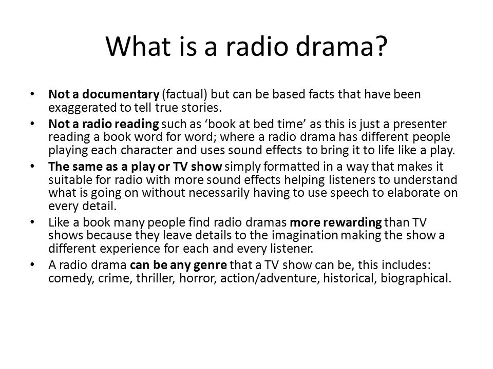 Codes and Conventions of Radio Dramas - ppt video online