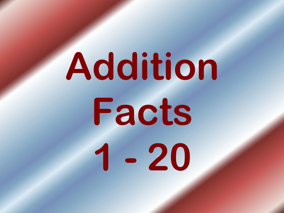 Addition Facts 1 - 20