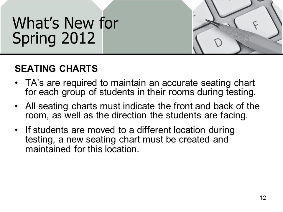 What's New for Spring 2012 SEATING CHARTS