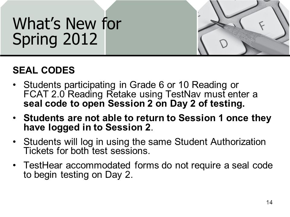 What's New for Spring 2012 SEAL CODES