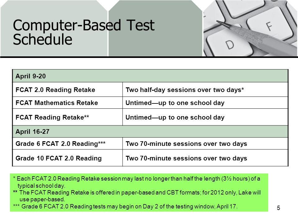 Computer-Based Test Schedule