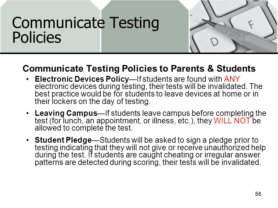 Communicate Testing Policies