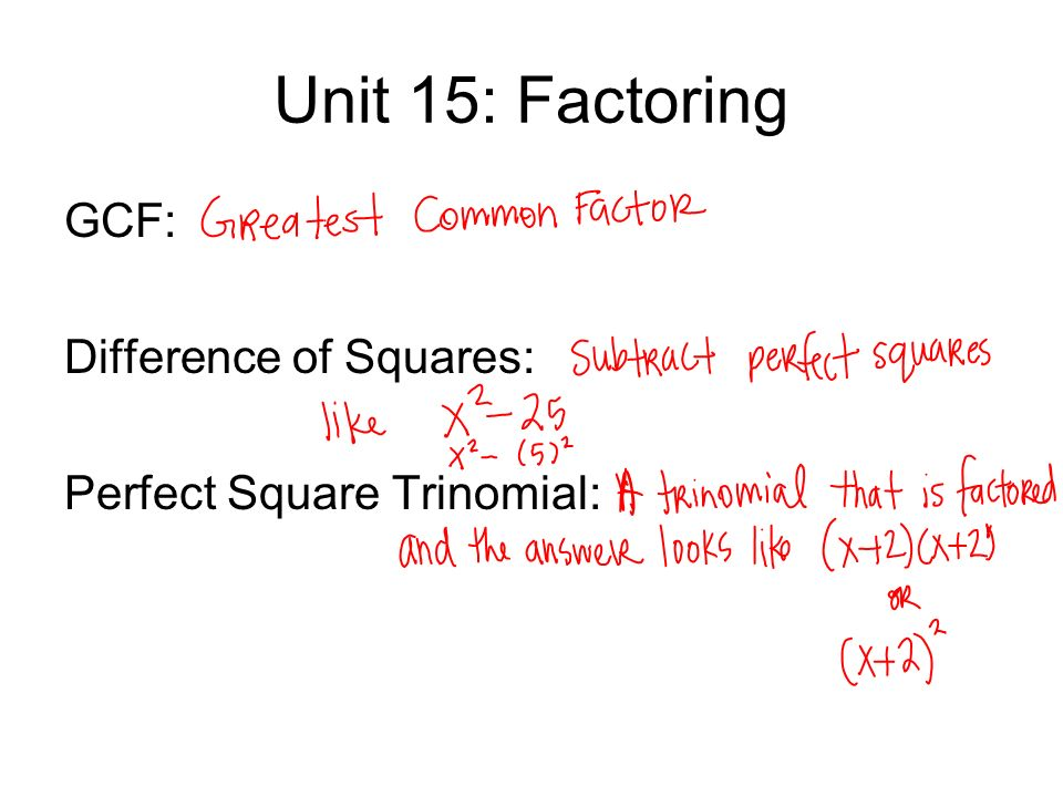 Unit 15: Factoring GCF: Difference of Squares: