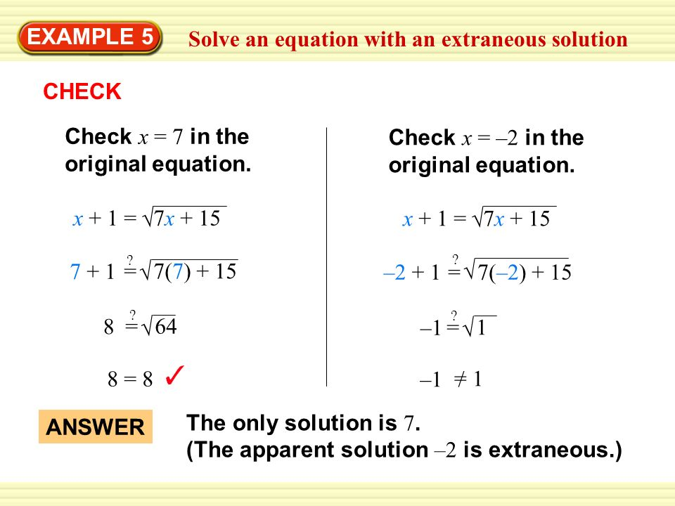Solve An Equation With An Extraneous Solution Ppt Video Online