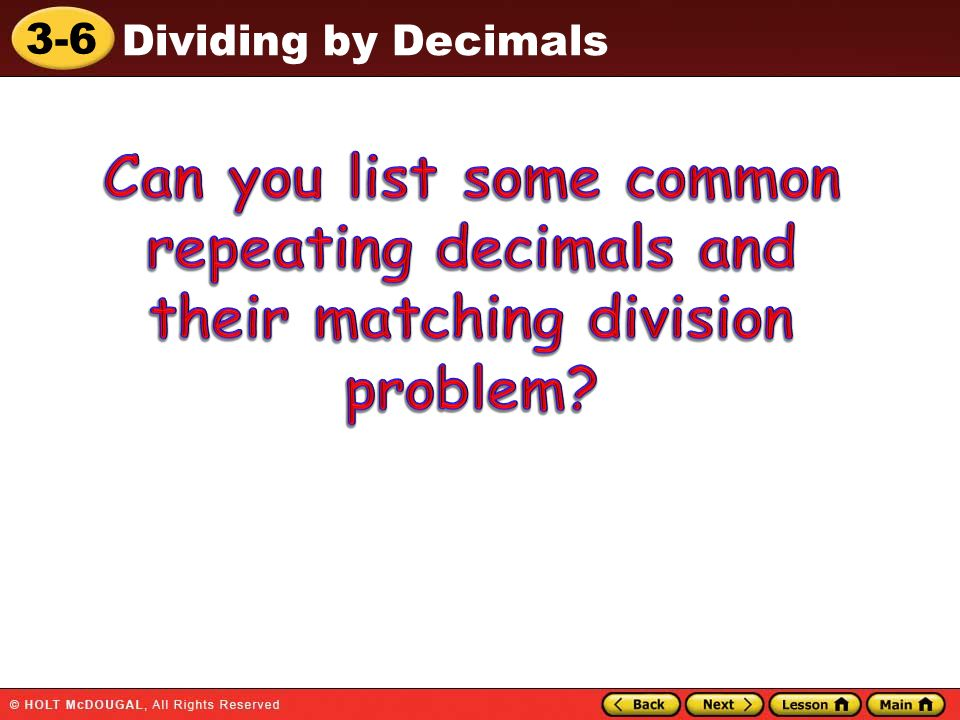 Can you list some common repeating decimals and their matching division problem