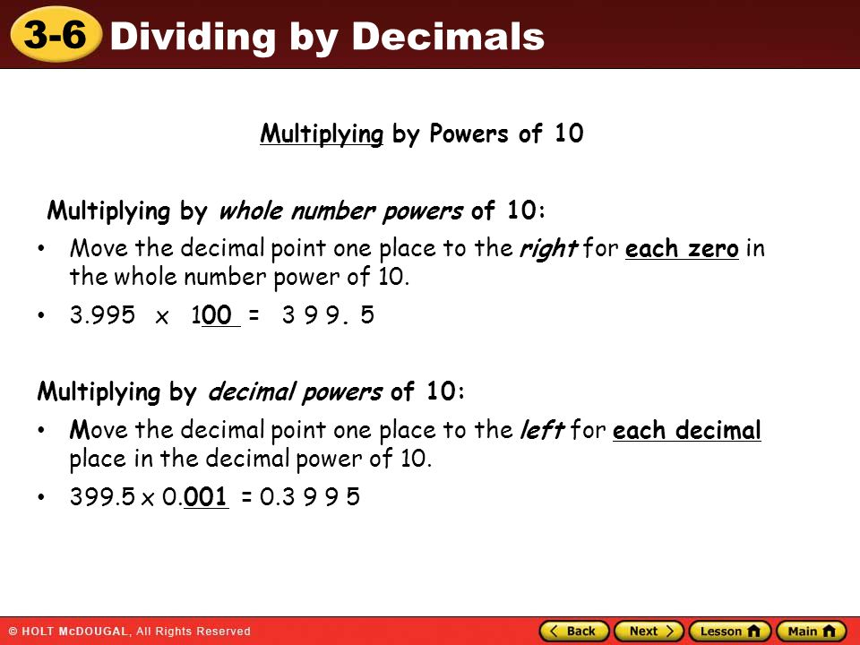 Multiplying by Powers of 10