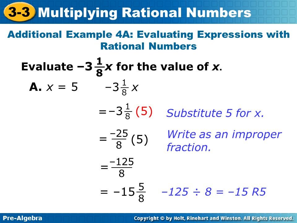 Additional Example 4A: Evaluating Expressions with Rational Numbers